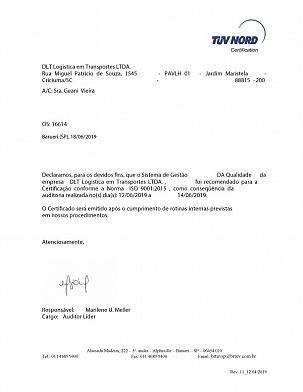 Destak Transportes recebe recomendação para certificação ISO9001/2015